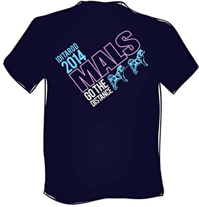 Blue Iditarod  Mals Go The  Distance TShirt - front
